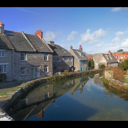 Purbeck village scene- mill pond