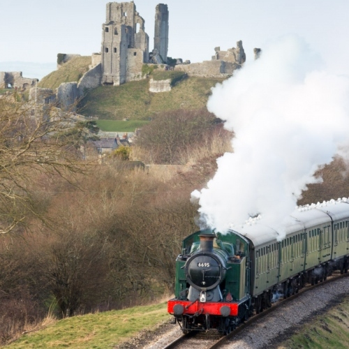 Steam past Corfe Castle