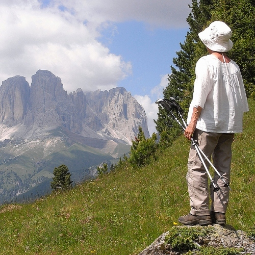 Guided walking in Dolomites - Looking out over a Dolomites mountain range