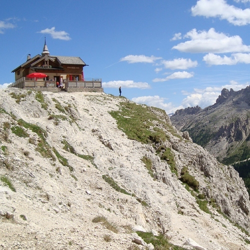 Guided walking in Dolomites mountain hut
