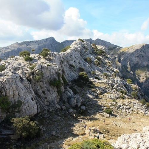 Guided walking in Majorca - limestone ridge above Cuber