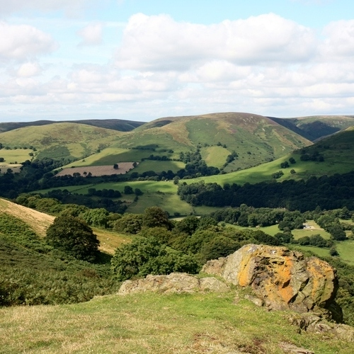 Guided walking in Shropshire Hills - the Long Mynd in the background