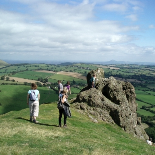 Guided walking in Shropshire Hills - Battle Stone rock on Wilstone Hill